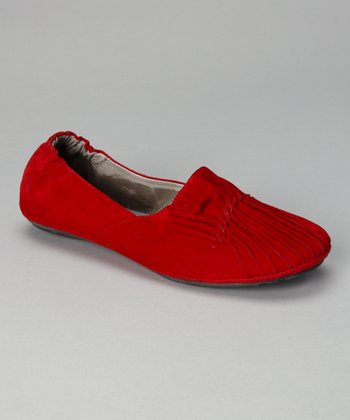 Red Suede Pleated Cam Flat