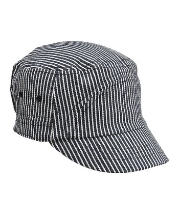 Blue & White Stripe Newsboy Hat