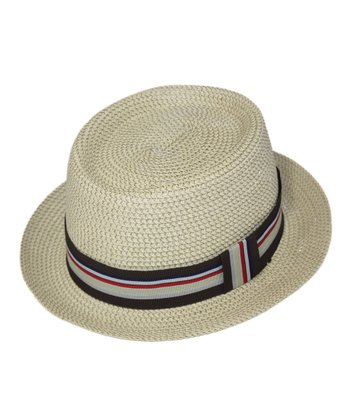 Khaki & Black Stripe Pork Pie Hat