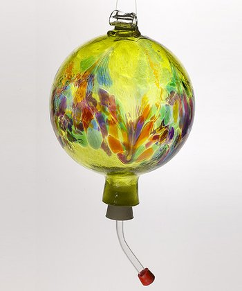 Lime Art Nouveau Hummingbird Feeder