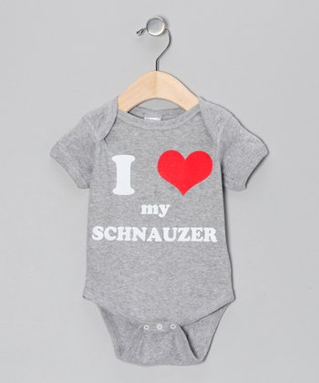 Athletic Heather 'I Heart My Schnauzer' Bodysuit - Infant