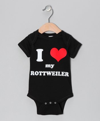 Black 'I Heart My Rottweiler' Bodysuit - Infant