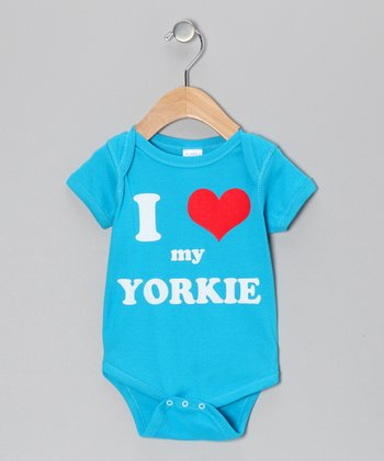 Turquoise 'I Heart My Yorkie' Bodysuit - Infant