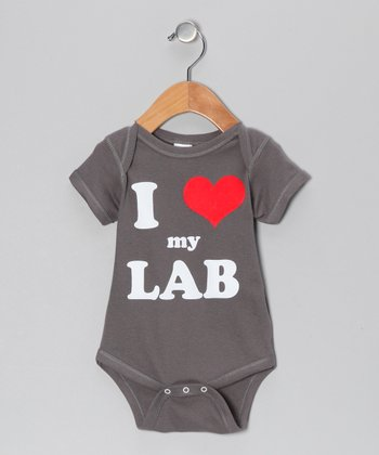 Charcoal 'I Heart My Lab' Bodysuit - Infant