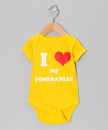 Yellow 'I Heart My Pomeranian' Bodysuit - Infant