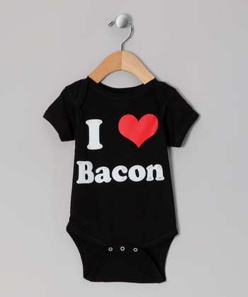 Black 'I Love Bacon' Bodysuit - Infant