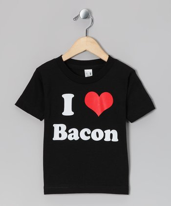 Black 'I Love Bacon' Tee - Toddler & Kids