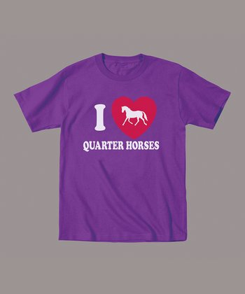 Purple 'I Love Quarter Horses' Tee - Toddler & Kids