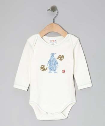 White & Blue Penguin Organic Bodysuit - Infant