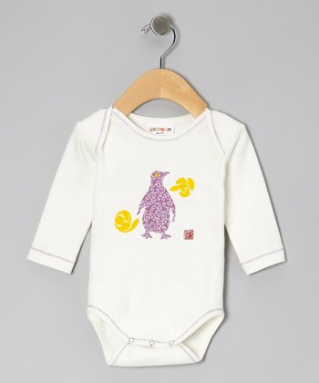White & Purple Penguin Organic Bodysuit - Infant