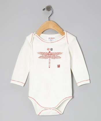 White & Red Dragonfly Organic Bodysuit - Infant