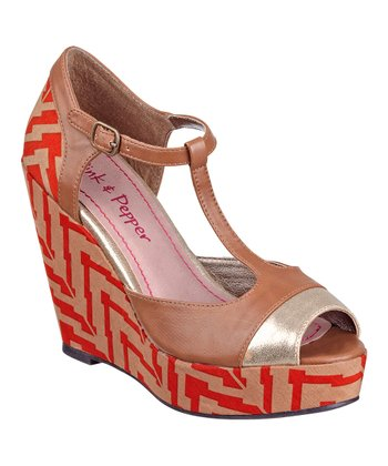 Brown Fabiola T-Strap Wedge