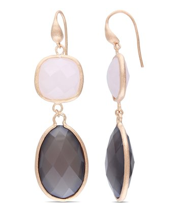 Rose Quartz & Gray Agate Drop Earrings