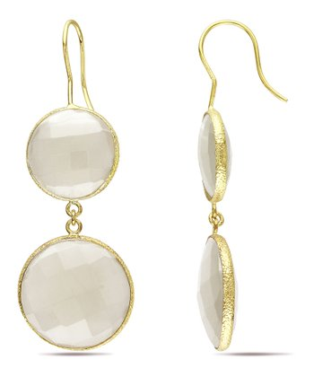 Clear Onyx & Yellow Gold Double Drop Earrings