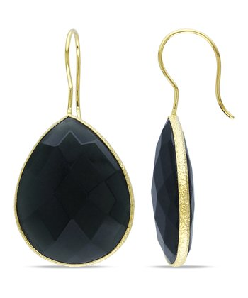 Gray Onyx & Yellow Gold Teardrop Earrings