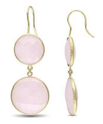 Pink Opal & Yellow Gold Double Drop Earrings