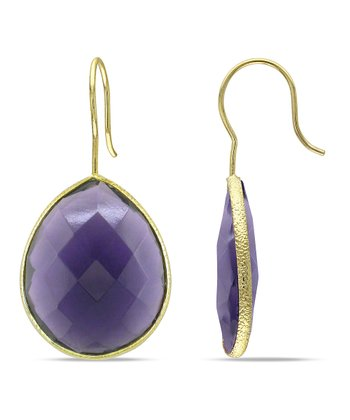 Purple & Yellow Gold Teardrop Earrings