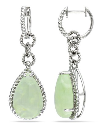 Green Prehnite & Silver Braid Teardrop Earrings