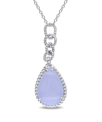 Blue Chalcedony & Sterling Silver Teardrop Pendant Necklace