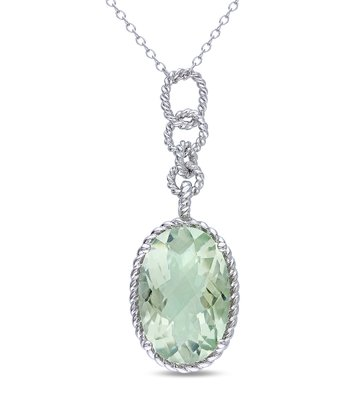 Green Amethyst & Sterling Silver Teardrop Pendant Necklace