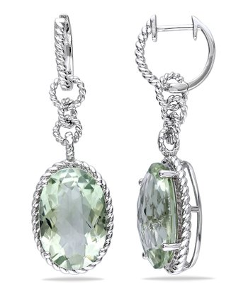 Green Amethyst & Silver Oval Drop Earrings