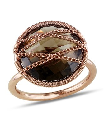 Smoky Quartz & Rose Gold Crisscross Circle Ring
