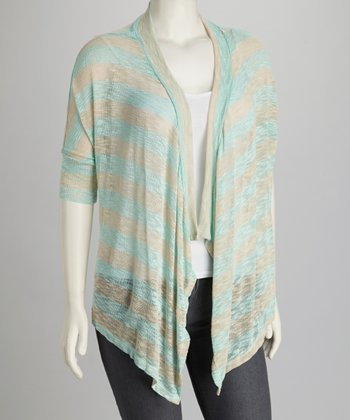 Mint & Gray Stripe Plus-Size Open Cardigan
