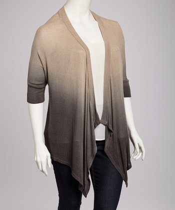 Charcoal Ombré Open Cardigan - Plus