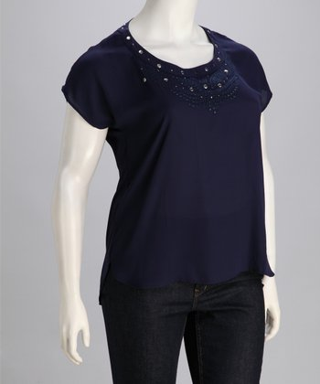 Navy Embellished Plus-Size Short-Sleeve Top