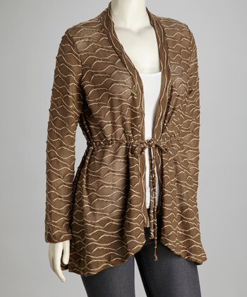 Mocha Plus-Size Open Cardigan