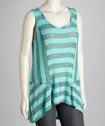 Aqua & Gray Stripe Tank - Plus