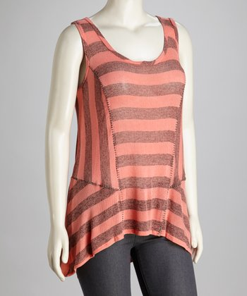 Coral & Gray Stripe Tank - Plus