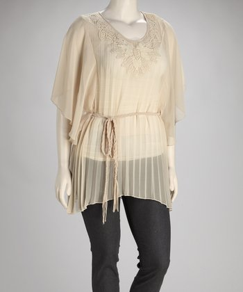 Ivory Sheer Plus-Size Dolman Top