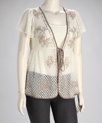 Ivory Flower Plus-Size Cardigan