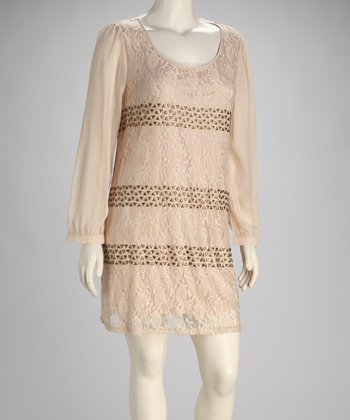 Light Pink Studded Lace Dress - Plus
