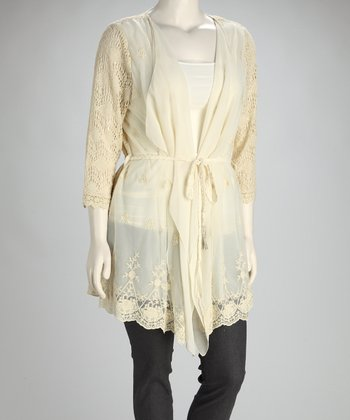 Ivory Crocheted Tie-Front Cardigan - Plus