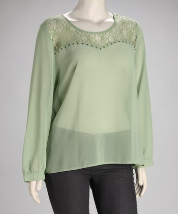 Mint Lace Studded Plus-Size Top