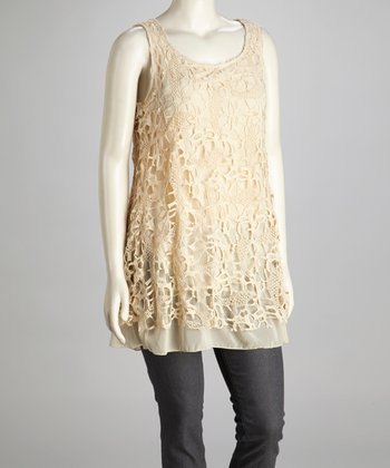 Ivory Lace Plus-Size Sleeveless Tunic