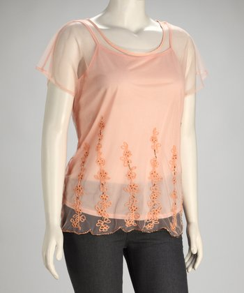 Peach Sheer Plus-Size Camisole & Top