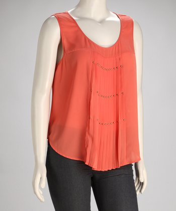 Coral Pleated Plus-Size Sleeveless Top