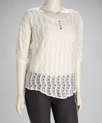 Ivory Lace Pleated Plus-Size Top