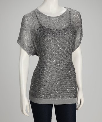 Gray Shimmer Knit Short-Sleeve Sweater