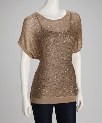 Nut Shimmer Knit Short-Sleeve Sweater