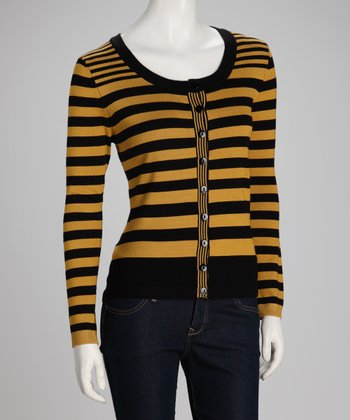 Mustard & Black Stripe Cardigan