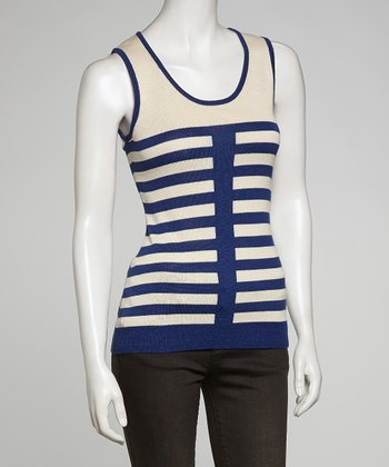 Navy & White Stripe Sleeveless Top