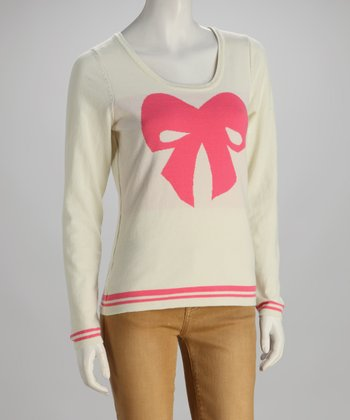 Off-White & Pink Bow Intarsia-Knit Scoop Neck Sweater