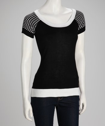 Black & White Dot-Sleeve Top