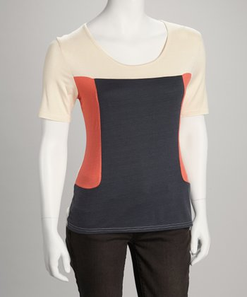 Coral & White Color Block Crewneck Top