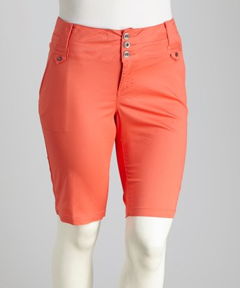 Guava Orange Plus-Size Bermuda Shorts