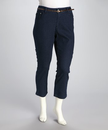 Dark Stone Wash Polka Dot Plus-Size Cropped Jeans